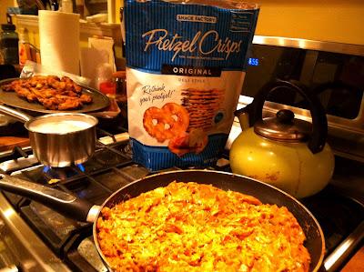 chicken, enchilada, dip, pretzels, stove, pan