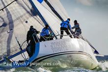 J/109 sailing on Solent, England