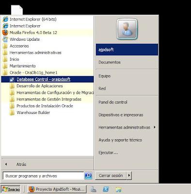 Acceso a la administración de Oracle Database 11g R2 x64 Enterprise Manager