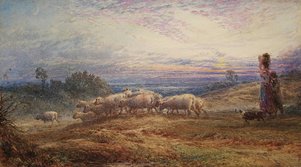 Myles Birket Foster - Young Shepherds at Evening Time