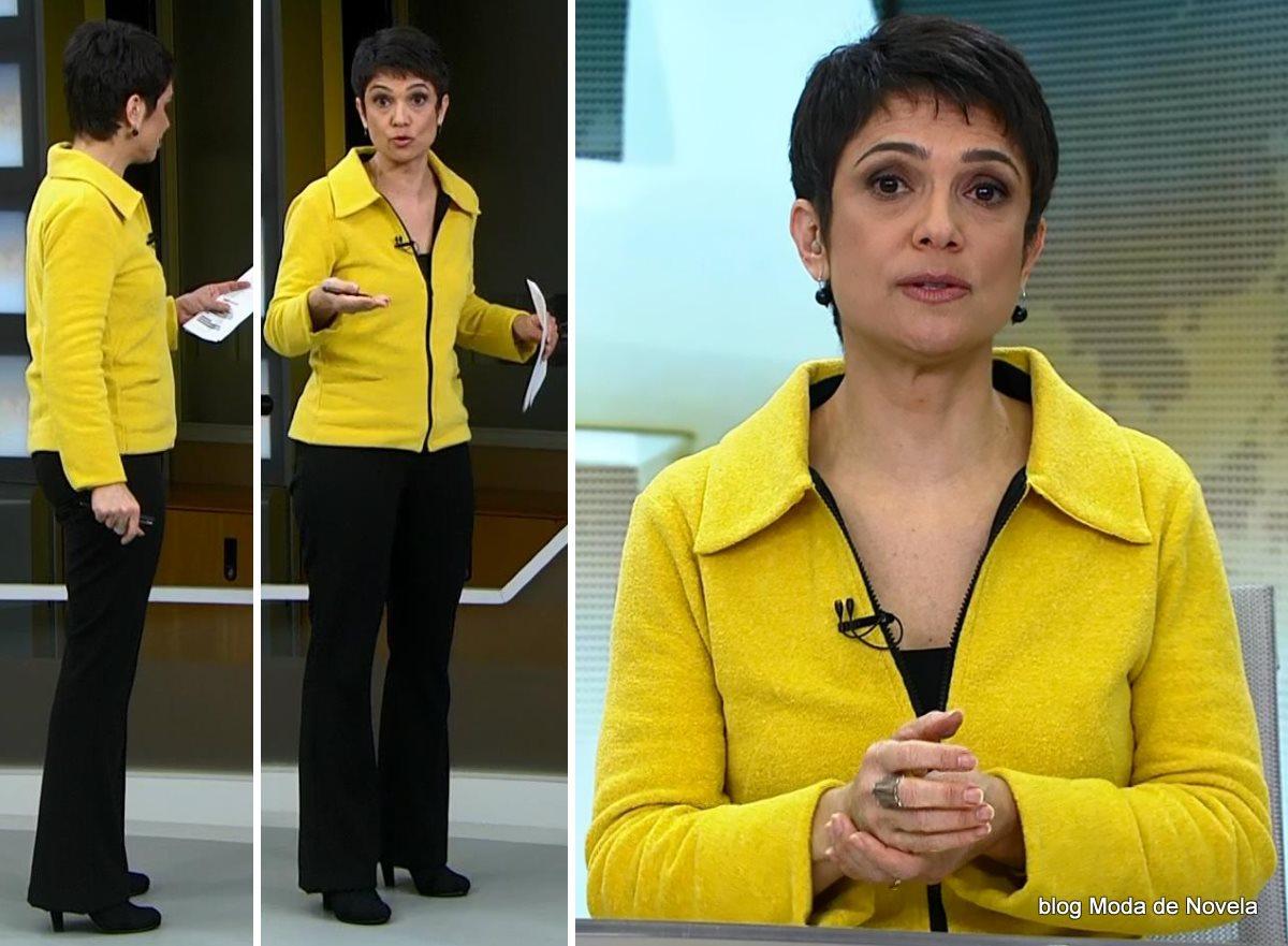 moda do programa Jornal Hoje - look da Sandra Annenberg com jaqueta amarela dia 16 de julho