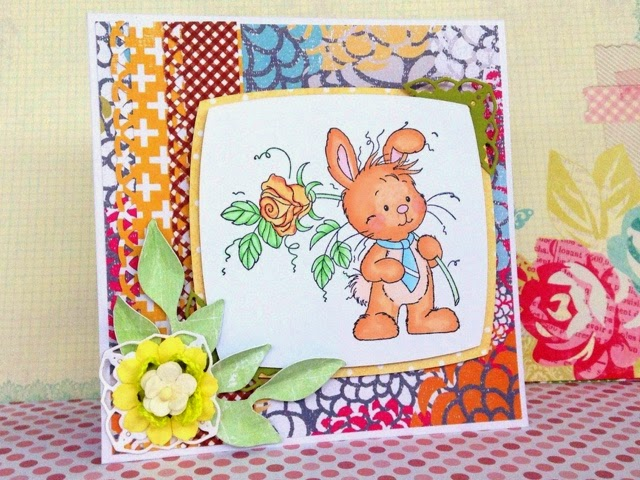 Scrapbooking card with bunny for Easter