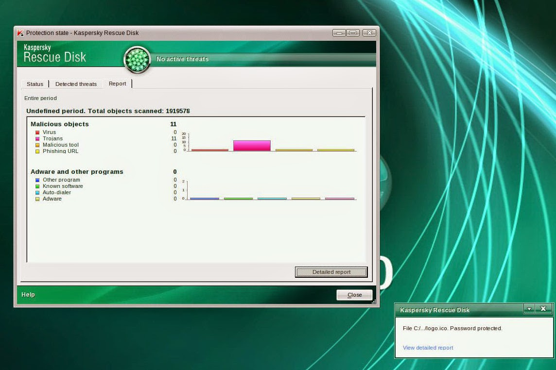 Kaspersky Rescue Disk reports