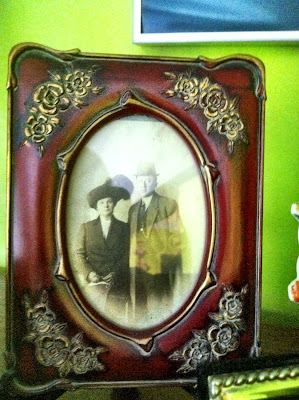 old family photo 1800s wood frame stock photo