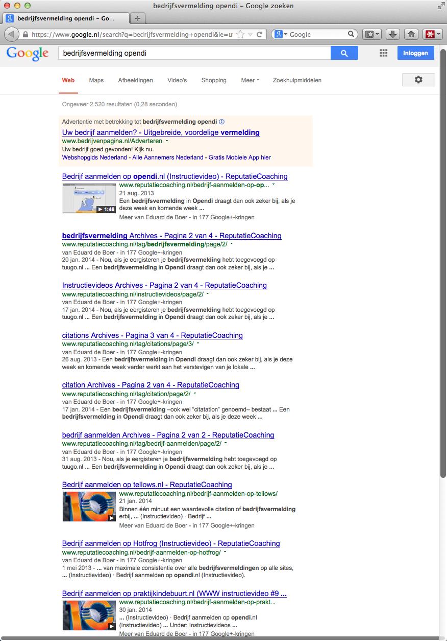 Bedrijfsvermelding opendi.nl op Google
