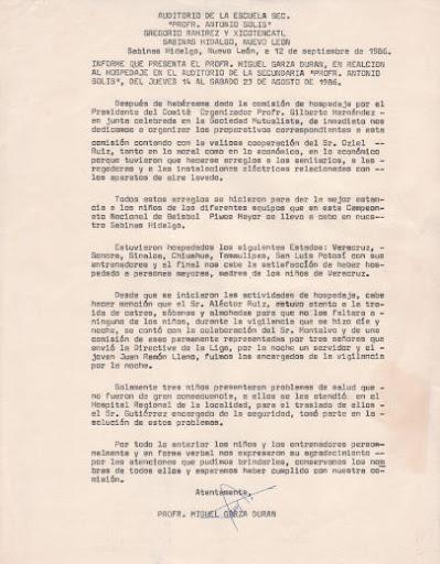 Informe del encargado del hospedaje en el campeonato nacional de ligas pequeñas división menor de 1986