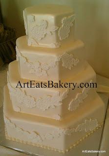 Four tier hexagon chamagne pearl fondant custom wedding cake with elegant romantic flower lace design