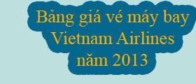 Bảng giá vé máy bay 2013