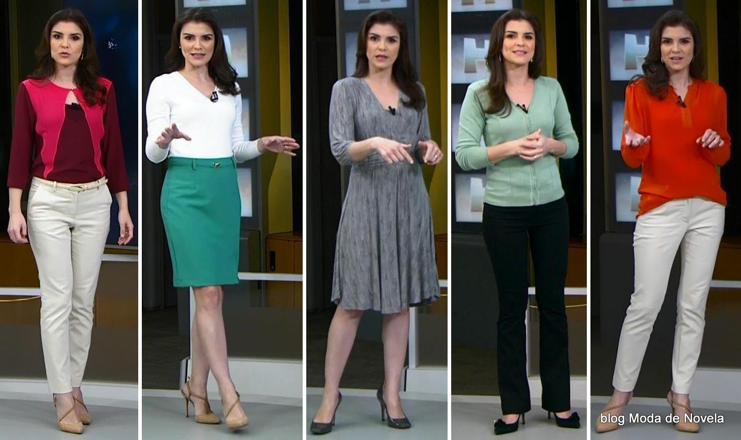 moda do programa Jornal Hoje - looks da Eliana Marques dias 16 a 20 de junho