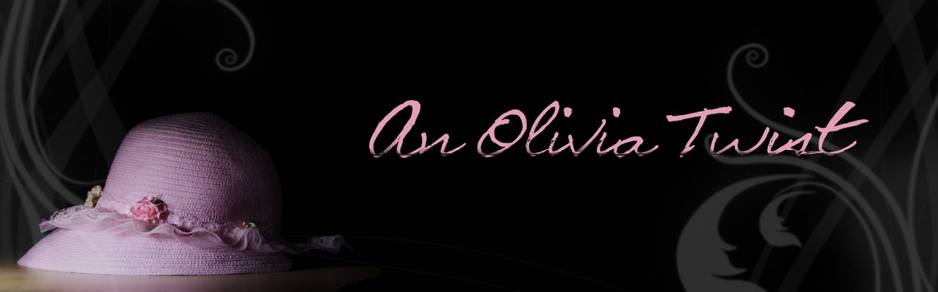 An Olivia Twist header image with pink hat, film title, and elegent curves and swirls.