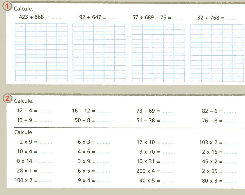 La classe de mme c evaluations 3 me p riode - Soustraction ce2 ...