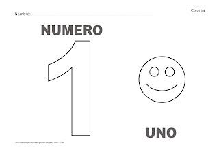 Dibujo del número uno para colorear y pintar