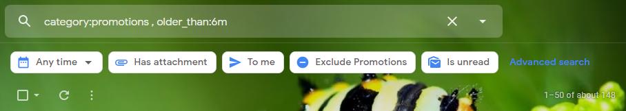 Delete promotional emails older than 6 months