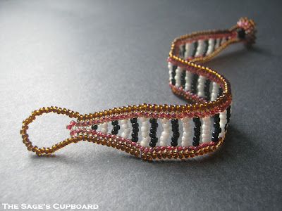 Chocolate Cherry Striped Bracelet