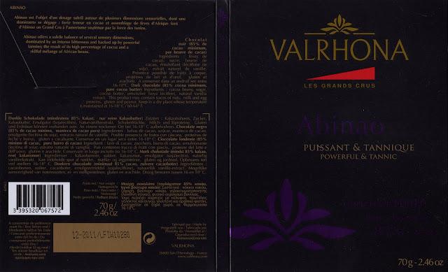 tablette de chocolat noir dégustation valrhona les grands crus abinao 85