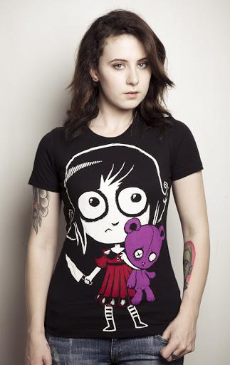 girl with knife teddy bear, teddy bear tshirt, girl knife tee, black tshirt creepy girl, creepy girl big eyes t-shirt, girl big eyes teddy bear, little morbid girl, creepy cute tee, akumu, akuma, japanese cute goth