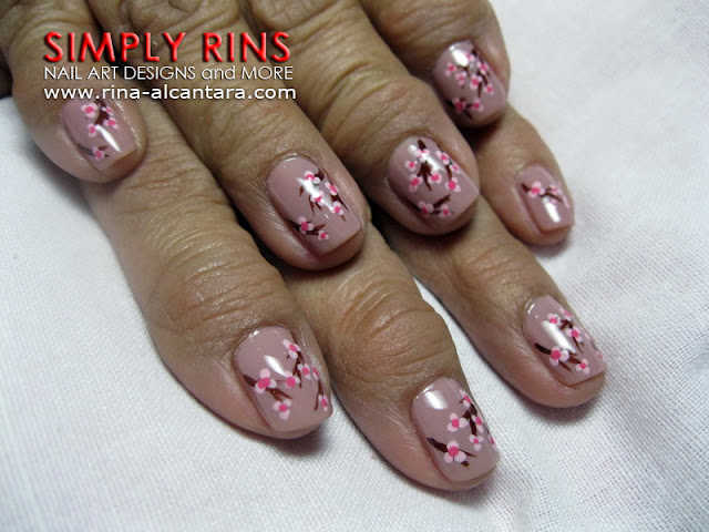Cherry Blossoms nail art design 01