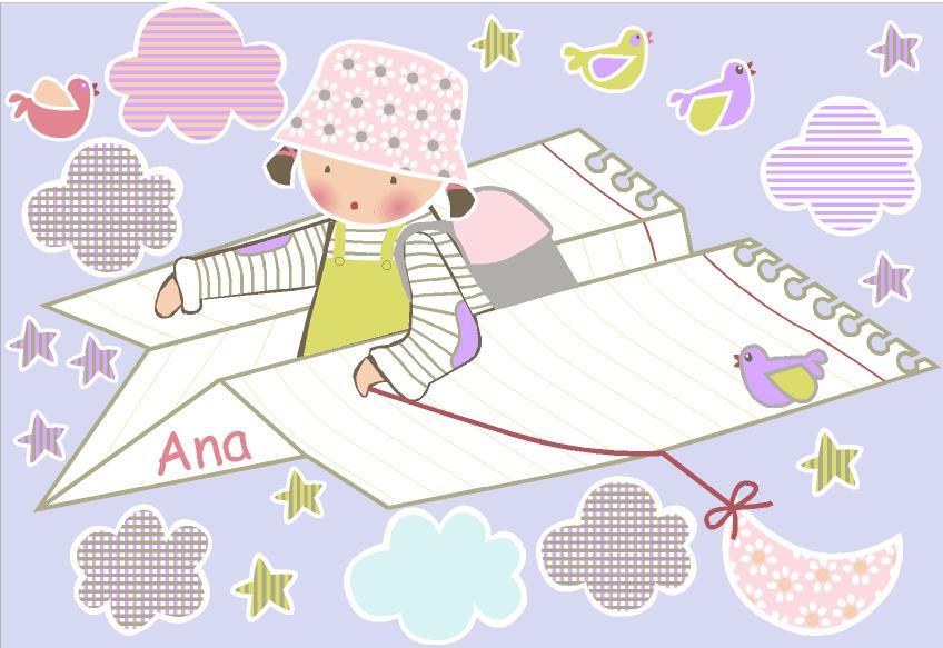 Vinilos infantiles personalizados ana en avi n de papel for Vinilos infantiles personalizados