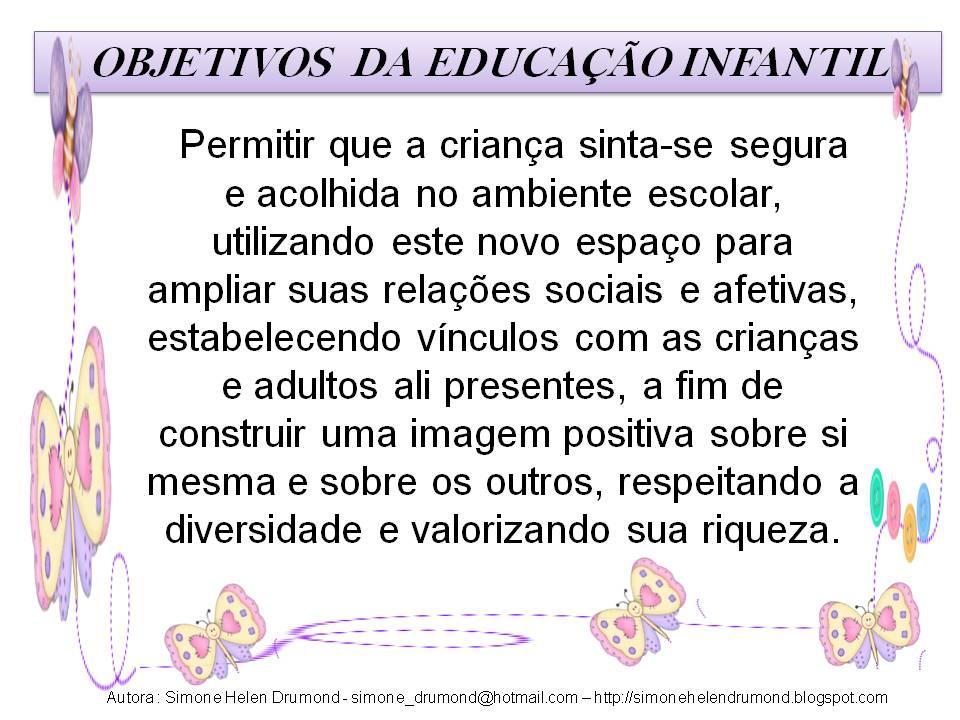 Simone Helen Drumond Objetivos Da Educação Infantil