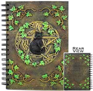 Pentacle Black Cat Pentagram Blank Book Of Shadows Image