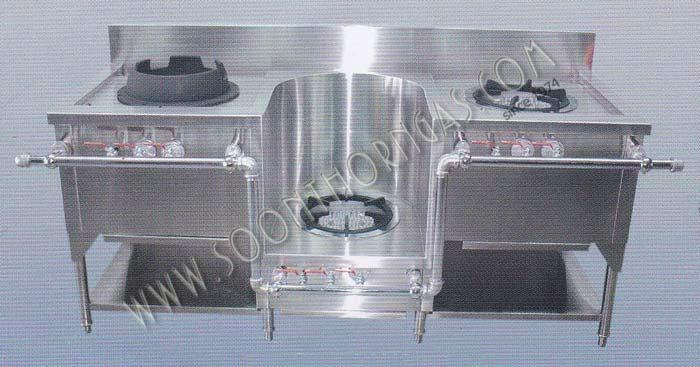 เตาครัวไทย 3 หัว พร้อมเตาอุ่นซุป Model. ST-GL3