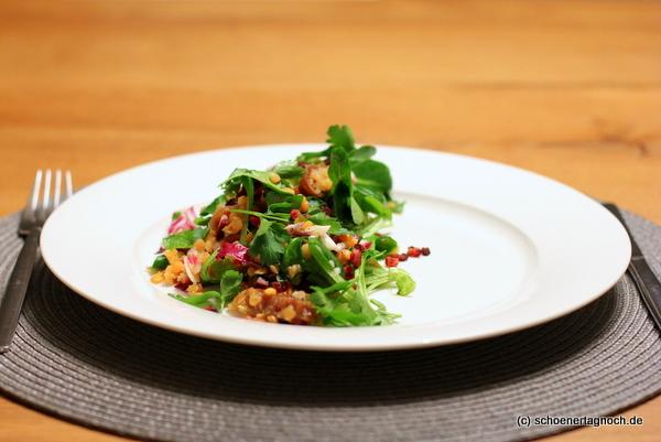 Rote Linsen-Salat mit Radicchio und getrockneten Feigen