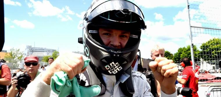 Nico Rosberg celebra la pole position en el GP de Canadá 2014