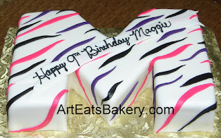 3D pink, purple and black zebra stripe letter M custom designed creative fondant girl's birthday cake
