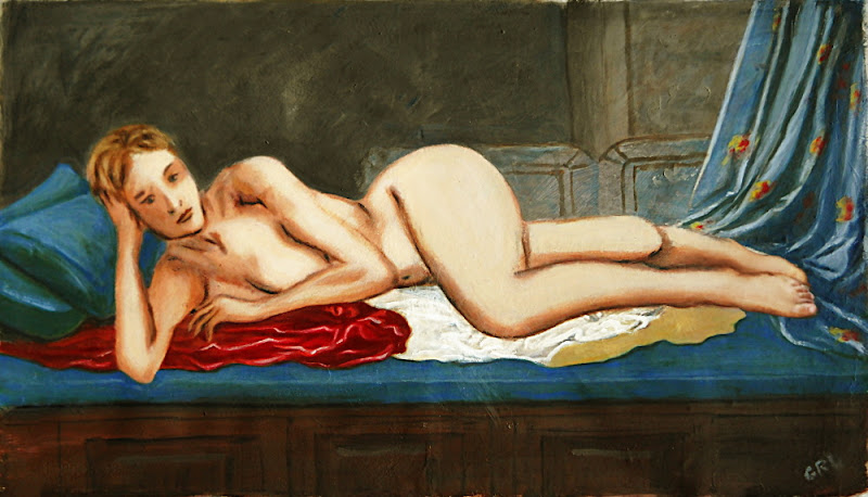 An original acrylic/oil painting, Odalisque, after Ingres.