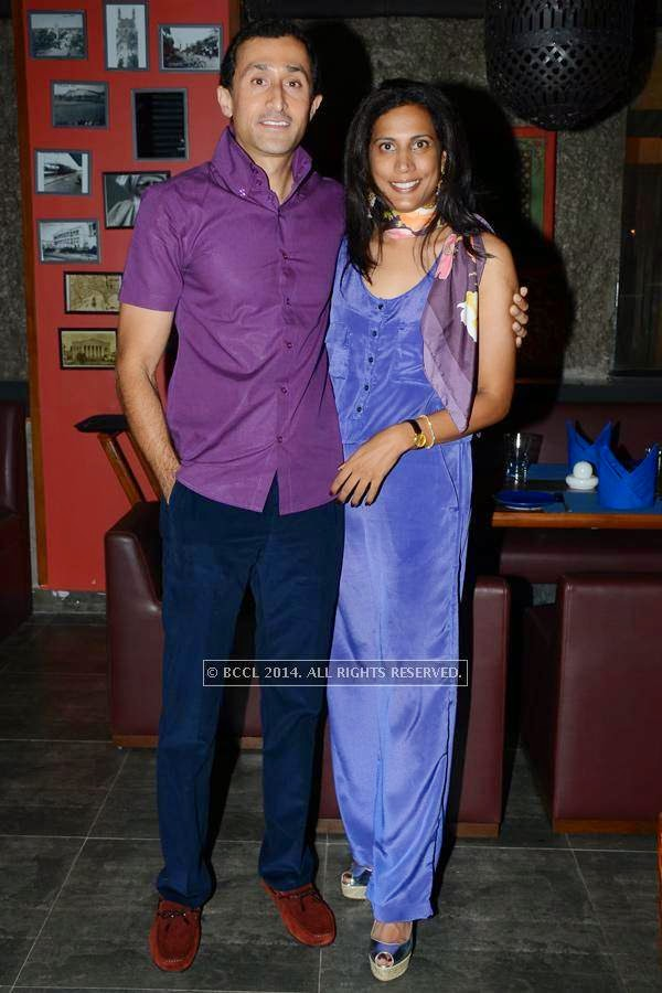 Anirudh and Deepika during the launch of Eat India Company - Kitchen and Bar, in Hyderabad.