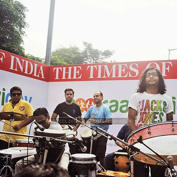 The Delhi Drum Circle during the Raahgiri Day, held at Connaught Place's Inner Circle, in New Delhi.