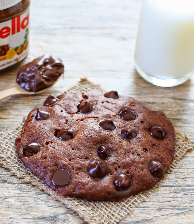 close-up photo of a Microwave Nutella Cookie