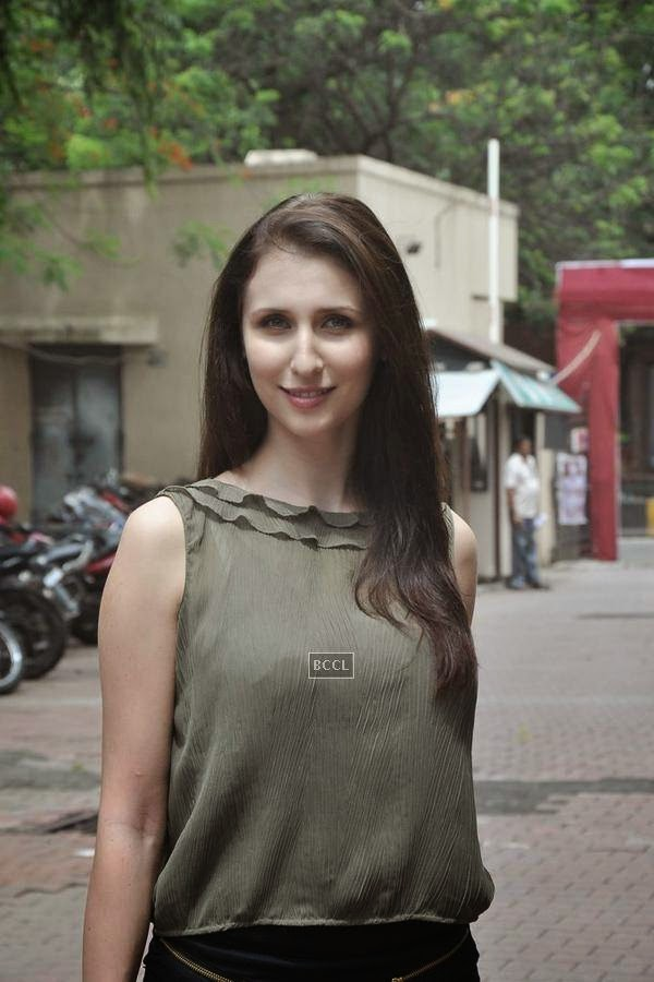 Claudia Ciesla during the promotion of upcoming movie Desi Kattey, in Mumbai, on July 14, 2014. (Pic: Viral Bhayani)