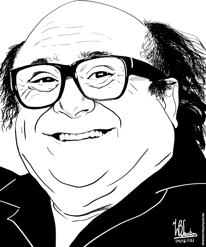 Ink drawing of Danny DeVito, using Gimp 2.8.
