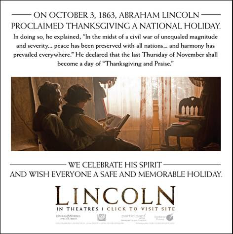DreamWorks Pictures movie Lincoln - a Thanksgiving lesson