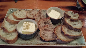 Wildwood Restaurant lunch starters of ken's bakery bread with trapini sea salt and bamboo leaf salt on pats of butter