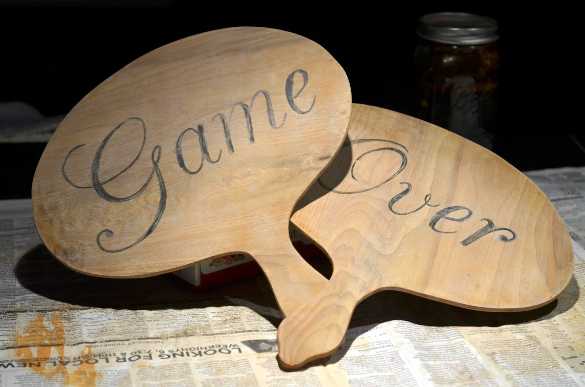 Game Over wedding paddle photo props