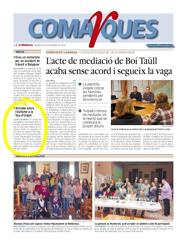 Diari La Mañana. Dissabte, 8 de novembre de 2014