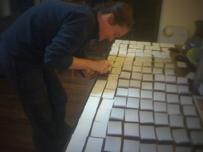 Hand making business cards with Australian artist Fiona Morgan.