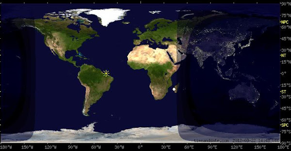 A map of the world showing where it will be day and night and the positions of the Sun and the Moon at the time of the September Equinox 2012