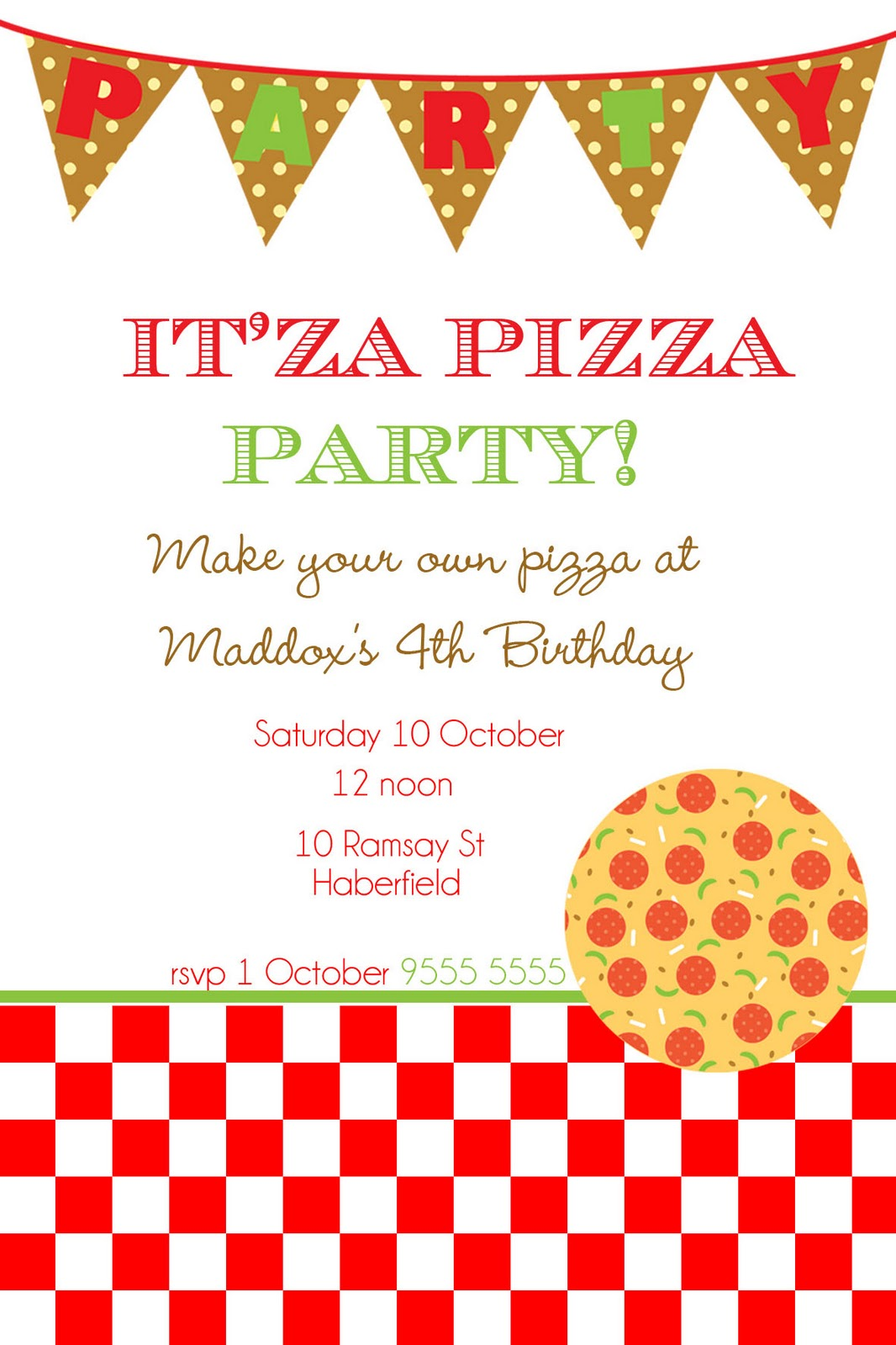 Mon Tresor: Itu0027sa Pizza Party!, Wedding Invitations  Free Party Invitation Template Word