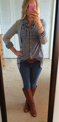 Checkered button down with boyfriend cardigan