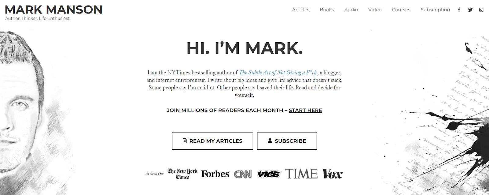 Mark Manson's personal website