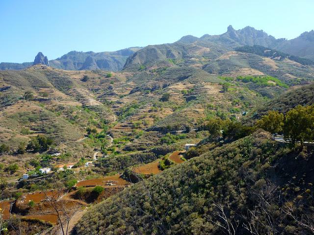 Terassenlandschaft im Bergland Gran Canarias.