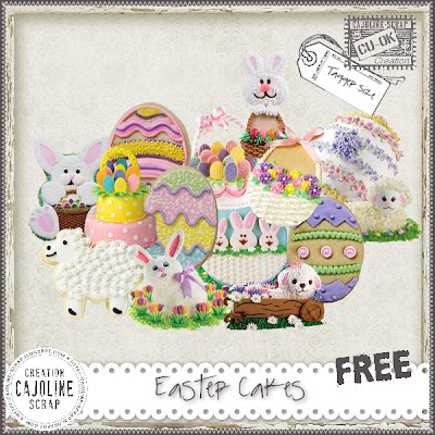 "Free scrapbook elements ""Easter Cakes - CU"" from Cajoline scrap"