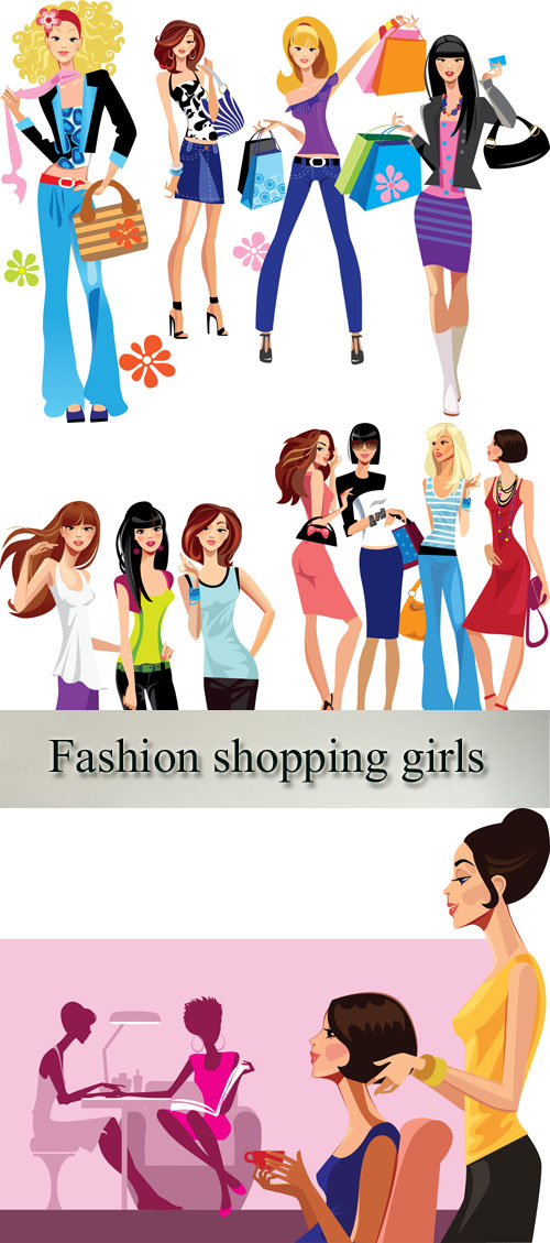 Stock: Fashion shopping girls