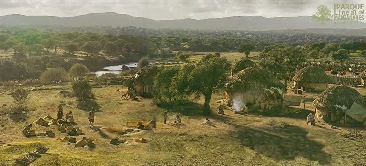 """Poblado neolítico junto al Manzanares o al Jarama. Fuente: """"La Tierra Apropiada"""""""