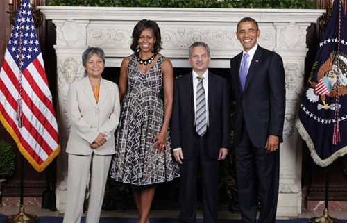 Hisila Yami, Babu Ram Bhattrai, Michelle Obama and Barack Obama