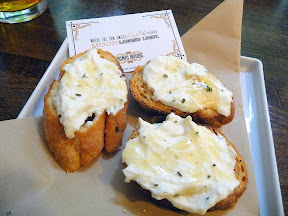 crostini topped with ricotta and drizzle of honey Picnic House, Portland, picnic restaurant