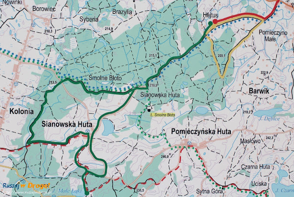 Mapka Zielonej trasy Nordic Walking w Pomieczynie